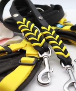 Fettlederleine passend zu AnnyX schwarz/gelb