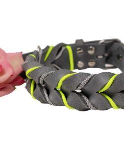 Fettlederhalsband passend zu AnnyX leuchtgelb/grau